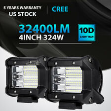 "2x 324W 4""inch LED Work Light Bar Pod Flood Beam Offroad Fog Driving Car Backup"