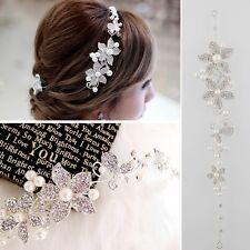 Sweet Rhinestone Pearl Flower Wedding Bridal Beautiful Headband Hair Tiara Band