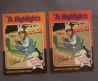 (2) 1975 Topps Hank Aaron #1 VG+