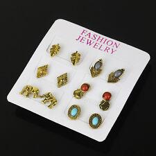 Wholesale Lots Gem Pearl Turquoise Crystal Boho Earrings Ear Studs Sets Jewelry