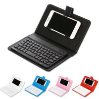 PU Leather Keyboard Cover Wireless Bluetooth Keyboard Case for iPhone Android