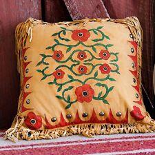 "Handmade 16"" X 16"" Leather Native American Style Western DESERT ROSE PILLOW"