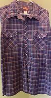 Wrangler Men's 2XL Plaid Check Blue Western Pearl Snap Long Sleeve 18-18.5 Neck