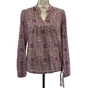 Lucky Brand Women's Blouse NWOT Purple & Ivory Top Size Medium