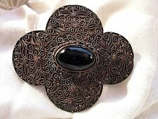 """Gorgeous 3"""" ANTIQUE Copper CHINESE BROOCH PIN Onyx + Ornate Metal Work Overlay"""