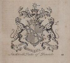 1779 ANTIQUE PRINT ~ Sackville ~ Family Crest Coat of Arms Duc de Dorset