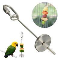 Stainless Steel Bird Parrot Cage Skewer Food Meat Stick Spear Holder Fruit N8H7