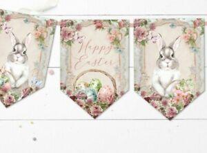 Vintage Floral Easter Bunny Bunting & Ribbon