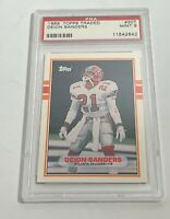 1989 TOPPS TRADED DEION SANDERS ROOKIE CARD RC PSA MINT 9 #30T (MR)