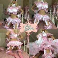 LUXURY SILKY SATIN PINK RAINBOW SISSY MAID BABY 8 STRAP TU TU SUSPENDER BELT