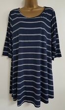 NEW Plus Size 14-32 Navy Blue & White Striped Printed Tunic Top Blouse