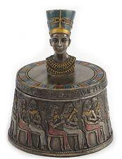 "4"" Bust of Nefertiti Egyptian Round Trinket Box Egypt Decor Statue Home"
