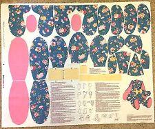 Floral Blue Flop-Eared Rabbit Stuffed Cloth Cranston Print Works Fabric Panel