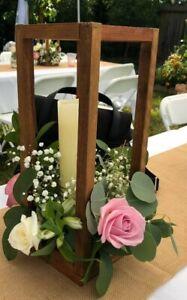 "2 pcs 16"" tall Matte brown wood Stands Wedding Flower Vase Holders"