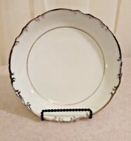 "Mikasa China Marlboro 7 5/8"" Soup Croup Bowl White w/ Platinum Japan EUC"
