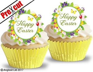 PRE-CUT HAPPY EASTER EDIBLE WAFER PAPER CUP CAKE PARTY TOPPERS DECORATIONS