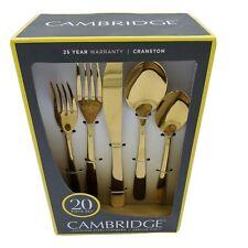 Cambridge Cranston Gold Mirror 20 Piece Stainless Steel Flatware Set Brand New.