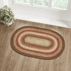 "VHC Brands Primitive 20""x30"" Accent Rug Orange Ginger Spice Textured Floor Decor"