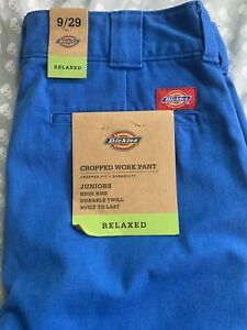 NWT Bright Blue Dickies Cropped Work Pants Relaxed High Rise Juniors 9/29