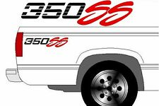 (2) 350 SS Chevy Truck 4x4 Off Road Silverado 1500 Sticker Vinyl Decal Black Red