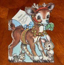 VINTAGE Christmas Greeting Card 1946 EMBOSSED DIE-CUT REINDEER BUNNY RABBIT CULP