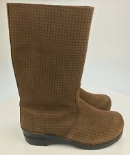 NEW Women's 7-7.5 38 Sanita SIGNATURE Danish Clog Boots Woven Design Brown Suede
