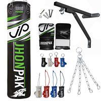 JP 7pcs Heavy Punching Bag UnFilled Boxing Set Gloves MMA Training Bracket Chain