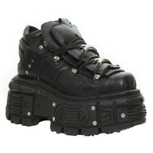 New Rock Boots M-TANK106-C2 Unisex Metallic Black 100% Leather Goth Platform