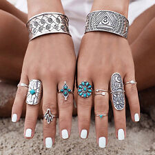 UK BOHO 9Pcs RING SET Bohemian Gypsy Ethnic Tribal Jewellery Gift Idea Silver