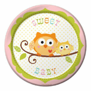 """Happi Tree Baby Shower Sweet Baby Owl Paper 8 Ct Plates Lunch 9"""""""