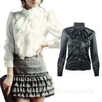 New Women Blouse Frilly Ladies Satin Vintage High Neck Victorian Shirt Top KALA