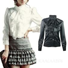 KALA womens blouse Frilly ladies Shirt Satin Vintage High Neck Victorian Top
