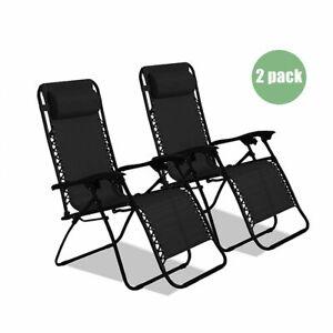 Zero Gravity Recliner Outdoor Chair Reclining Garden Sun Lounger Portable