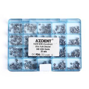 AZDENT Dental Orthodontic Monoblock Bracket Braces Mini Roth .018 Hooks 3 4 5