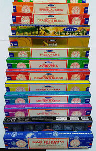 100% Original SATYA NAG CHAMPA 12 MIX MULTI VARIETY 12 X 15G BOXES OF INCENSE