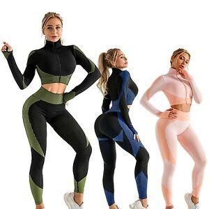 Women Sport Fitness Set Gym Leggings Zipper Yoga Crop Top Workout Pants Outfit
