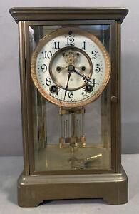 Ca.1900 Antique ANSONIA Brass CRYSTAL REGULATOR Old GLASS CASE MANTEL CLOCK