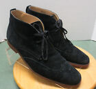 Men's sz 12 M black suede wing tip Stacy Adams chukka lace up ankle boots