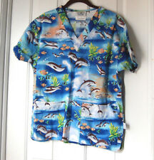 Crest Cottons Scrub Top Unisex Size XS Sea Life Dolphins Fish Print V-Neck