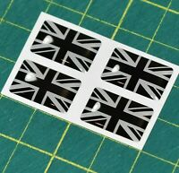 4x Union Jack Flag Domed Stickers - High Gloss Raised Finish Black and White