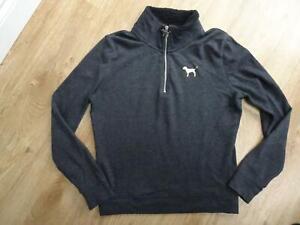 VICTORIAS SECRET PINK ladies dark grey sweatshirt jumper SMALL UK 8 - 10