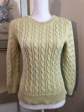 Ann Taylor Womens Crew Neck Sweater Cotton Cable Knit  Key Lime Green Size Small