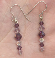 Vintage Sterling Silver 925 Faceted Glass Dangle Bead Pierced Hook Earrings