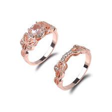 2Pcs Pair Ring 18K Rose Gold Filled White Topaz Wedding Engagement Size 6-10