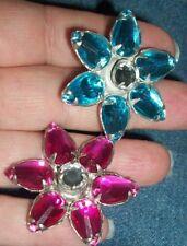 Lot Set 2 Silvertone FLOWER DAISY Pink Turquoise Blue Rhinestone PIN BROOCH 1.5