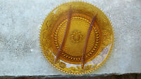 AMBER TIARA RELISH PLATTER VINTAGE CARNIVAL APPETITE MID CENTURY PLATE MINT 12 ""