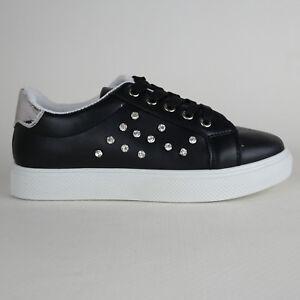 Scarpe Sneakers da Donna nere Platform Sportive con Gioiello brillantini strass