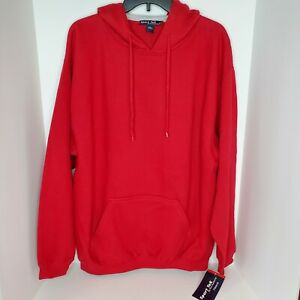 Sport-Tek Men's Pullover Hooded Sweatshirt Hoodie Red SZ L Front Pouch Pocket