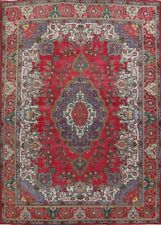 Traditional Semi Antique Tebriz Hand-Knotted Wool Area Rug Oriental Carpet 10x14