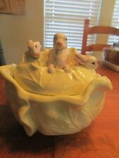 Vtg Holland Mold Ceramic Cabbage Bowl with Rabbits on the Lid